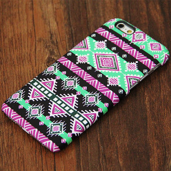 Green Pink Aztec Pattern iPhone 6s Plus 6 5S 5C 5 4 Protective Case #727
