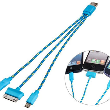 Woven Fabric 3 in 1 USB Charger Cable