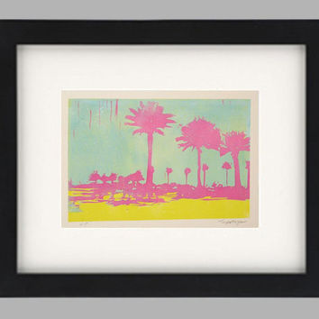 Palm Trees, Florida linocut reduction relief silhouette, St. Pete