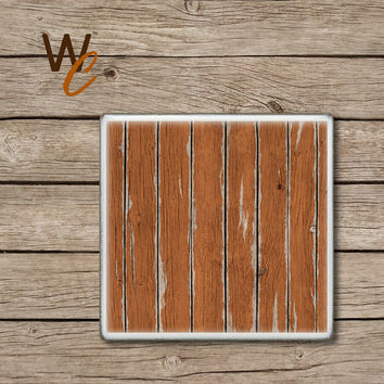 Wood Pattern Coaster,  Price Is For ONE Coaster, Rustic Burnt Orange Distressed Wood Handmade Design, Ceramic Tiles, Beer Coaster(s), Coffee