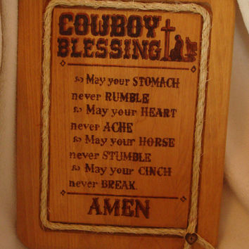 A Cowboy Blessing Sign Wood Burned on Basswood and Adorned with Rope and Wooden Button