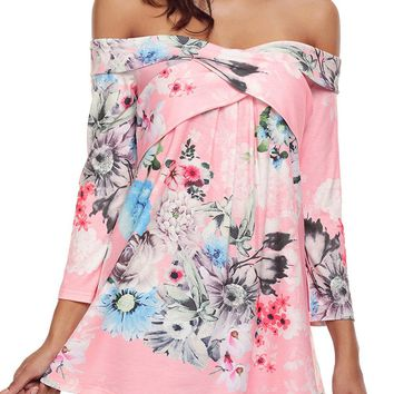 Mode Pink Floral Long Sleeve Crisscross Off Shoulder Top