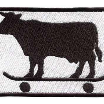 Skater Cow Patch 9.5cm Skate Skateboard Badge for Hat Cap Shirt Shorts