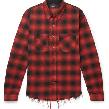 AMIRI - Distressed Checked Cotton-Flannel Shirt