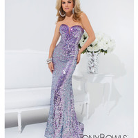 (PRE-ORDER) Tony Bowls 2014 Prom Dresses - Purple Sequin Beaded Strapless Sweetheart Long Gown