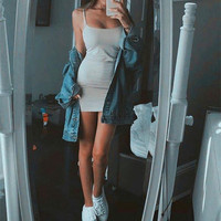 Fashion Simple Female Solid Color  Low Chest Sleeveless Backless Strap Tight Mini Dress