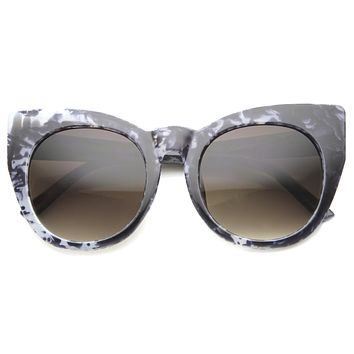 Women's Oversize Cat Eye Marble Print Sunglasses 9973