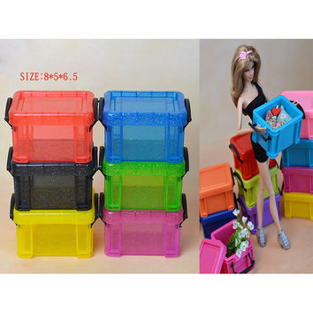 1pcs Plastic Shoes clothes organizer Collector box for Barbie Monster inc hight doll house furniture accessories