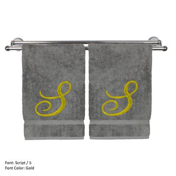 Monogrammed Hand Towel, Personalized Gift, 16 x 30 Inches - Set of 2 - Gold Embroidered Towel - Extra Absorbent 100% Turkish Cotton - Soft Terry Finish - For Bathroom, Kitchen and Spa - Script S Gray