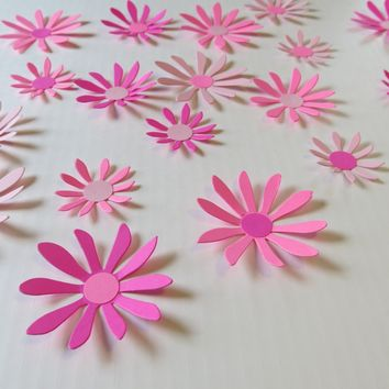 "Shades of Pink Daisies Set, 18 3D wall decals, 2-3"" Daisy paper flowers, Princess bedroom art, Spring Wedding decorations, bridal shower decor"