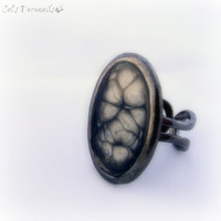 Black honeycomb victorian gothic ring, alien steampunk ring, cybergoth jewelry, handmade gift