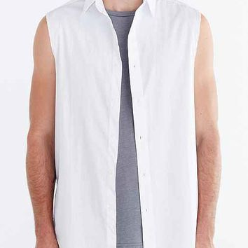 Shades Of Grey By Micah Cohen Sleeveless Raw Edge Button-Down