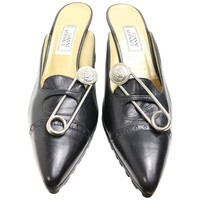 Gianni Versace Black Leather Medusa Safety Pins Mules