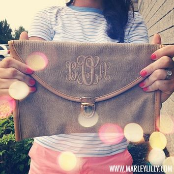 Monogrammed Burlap Luxe Cross Body Clutch