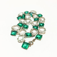 ON SALE Art Deco Crystal Necklace, Clear and Emerald, Silver Plated, Wedding Jewelry,  1920s, 1930s