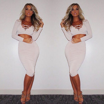 Fashion Female Solid Color Half Open Chest Crisscross Bandage Long Sleeve Crop Top Tight Mini Dress Set Two-Piece