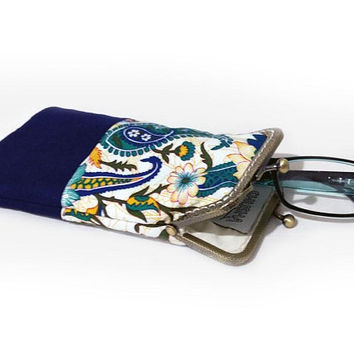 Sunglasses Case, Gift for Her, Eyeglasses Case, Single Glasses Case, Navy Blue fabric, Kiss Lock Antique Bronze Frame