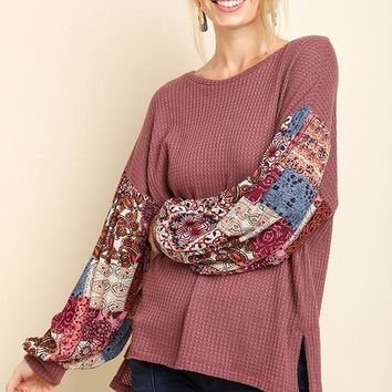 CHARLOTTE Paisley Puff Sleeve Knit Top In Mauve
