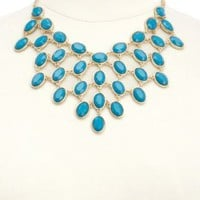 Clustered Stone Bib Necklace by Charlotte Russe - Gold