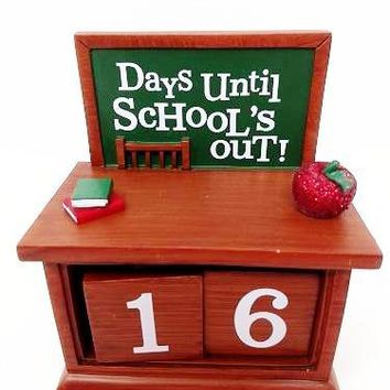 Hallmark School's Out Chalkboard Perpetual Calendar Figurine Desktop Sign
