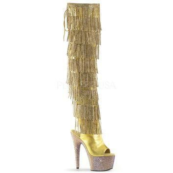 Gold Thigh High Rhinestone Encrusted Stripper Boots