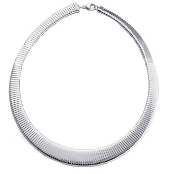 Sterling Silver Omega Collar Necklace-16 Inch,16mm