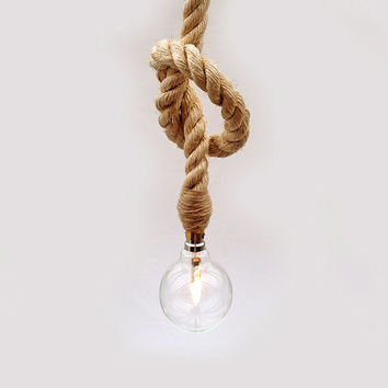 Decorative Nautical Sisal Rope / Eco Glass Globe Lamp / Ceiling Light