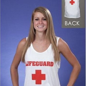 SIZE SMALL - WHITE MEN'S AND WOMEN'S LIFEGUARD TANK TOP - IMAGE ON FRONT AND BACK