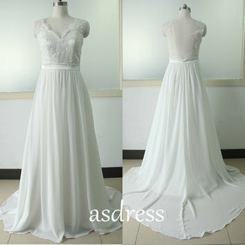 Sleeveless LACE A-line Wedding Dresses White Lace Wedding Gown Sweetheart bridal gown Sexy Backless Chiffon Wedding dresses US Size 0 2 4 6+