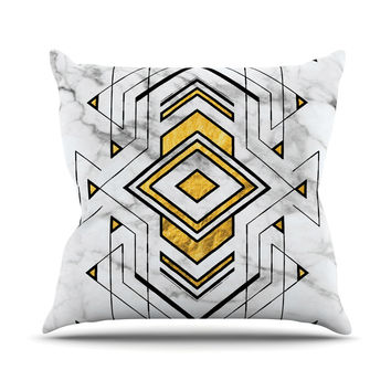"KESS Original ""Geo Marble Graphic"" Gold Tribal Outdoor Throw Pillow"