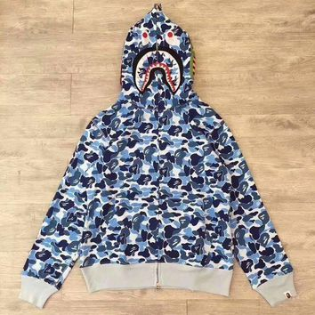PEAPD BAPE ABC SHARK Casual Fashion Sport Camouflage Long Sleeve Hooded Sweater Blue