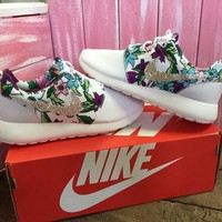 Blinged Out Nike Roshe Run Shoes White Floral Print Customized With Swarovski Crystal