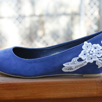 Blue ballet flat/low wedge heel with venise lace by walkinonair