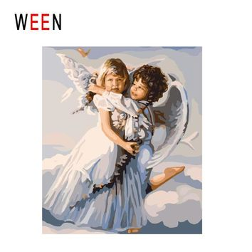 WEEN Angel Hugging Diy Painting By Numbers Abstract Boy Girl Oil Painting On Canvas Wing Cuadros Decoracion Acrylic Wall Art
