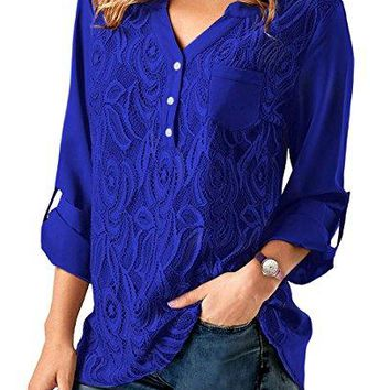 iooho Womens Casual Long Sleeve Solid Cuffed Button Floral Lace Chiffon Blouses Top