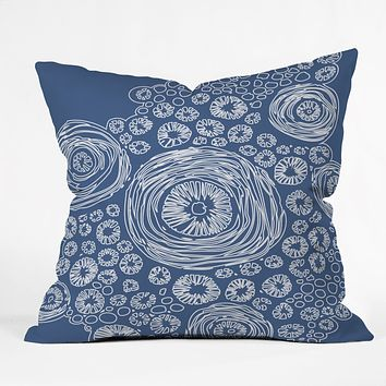 Julia Da Rocha Bluflower Throw Pillow