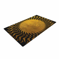 "Matt Eklund ""Gilded Chaos"" Gold Geometric Woven Area Rug"