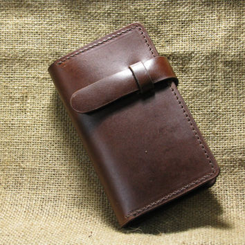 Portable clamshell Book-style leather bag Multi-function leather card bag with iPhone 4 and 4s case - Hand Stitched (Dark Brown)