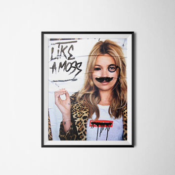 "Kate Moss Supreme, Graffiti Wall Art, Digital Download, 300dpi, A3 or 18"" x 24""."