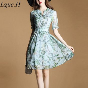 Lguc.H Summer New Casual Women Floral Chiffon Dress Knee-length Print Mori Girl Style Dress Fashion Elegant Beach Tunic Sundress