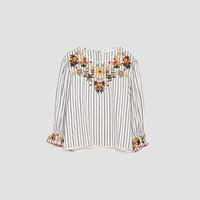 EMBROIDERED STRIPED TOP DETAILS