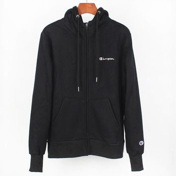 Champion Autumn And Winter New Fashion Bust Embroidery Letter Sports Leisure Hooded Long Sleeve Coat Black