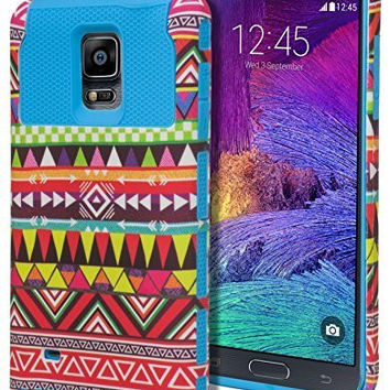 Samsung Galaxy Note 4, Hybrid  Tribal Case+Hot Pink Silicone Cover