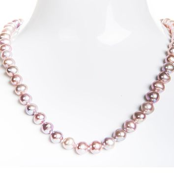 Single Strand Pink/Purple Freshwater Pearl Necklace 8mm