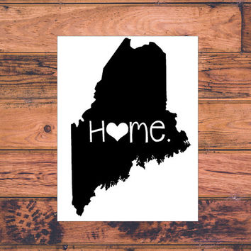 Maine Home Decal | Maine State Decal | Homestate Decals | Love Sticker | Love Decal  | Car Decal | Car Stickers | Bumper | 059