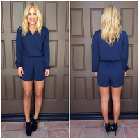 Set Sail Navy Long Sleeve Romper