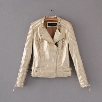 New Fashion Autumn Winter Women Brand Faux Soft Leather Jackets Pu Pink gold gray Zippers Long Sleeve Motorcycle Coat