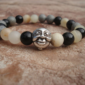 Man in the Moon Bracelet with Rainbow Obsidian, White Italian Onyx and Spotted Feldspar, For Her, For Him