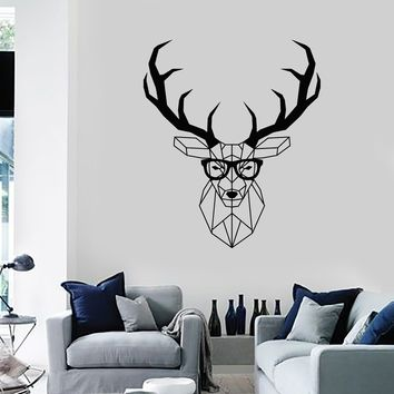 Vinyl Wall Decal Hipster Polygonal Deer Animal Living Room Home Decor Stickers Mural (ig5579)
