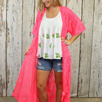Hot Pink lace duster from PeaceLove&Jewels